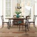 Завод прямых американский старинные деревянные столы и стулья утюг обеденный уголок