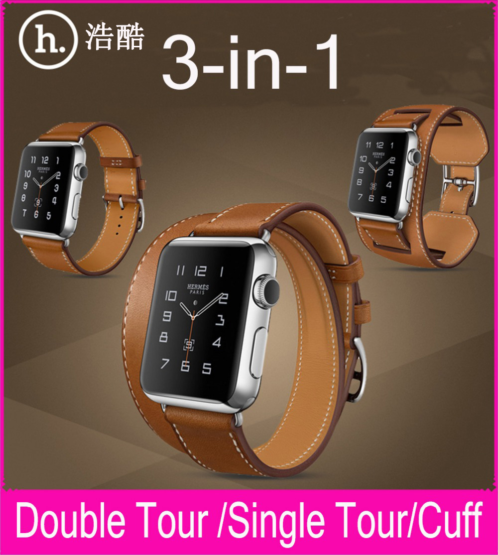 New 3 in 1 Package Single Tour Double Tour Cuff Genuine Leather Strap For Apple Watch 38mm 42mm With 1:1 Original Metal Adapters new style double buckle cuff genuine leather strap for apple watch 38mm 42mm with 1 1 original metal adapters fit series 1 and 2