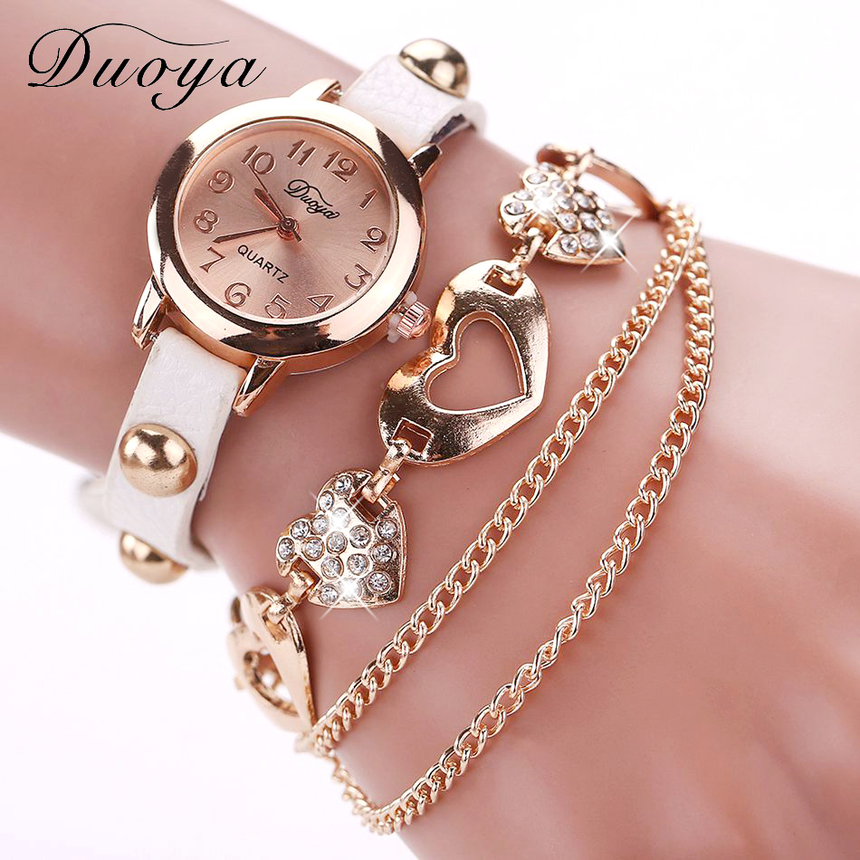Duoya Luxury Watch Women Fashion Love Luxury Chain Pendant Rose Bracelet Wristwatch Women Dress Quartz Hour Popular Brand Watch old antique bronze doctor who theme quartz pendant pocket watch with chain necklace free shipping