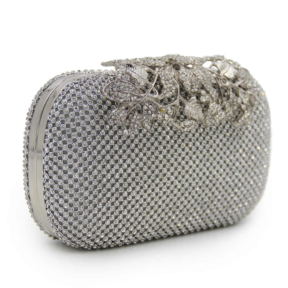 cf64ecc0845 ... Milisente Silver Clutch Rhinestone Bag Women Bags Lady Wedding Clutches  Party Purse ...