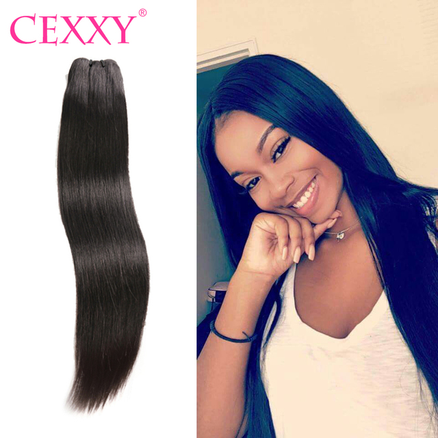 Cexxy Straight Raw Indian Virgin Hair Weave Bundles Natural Color
