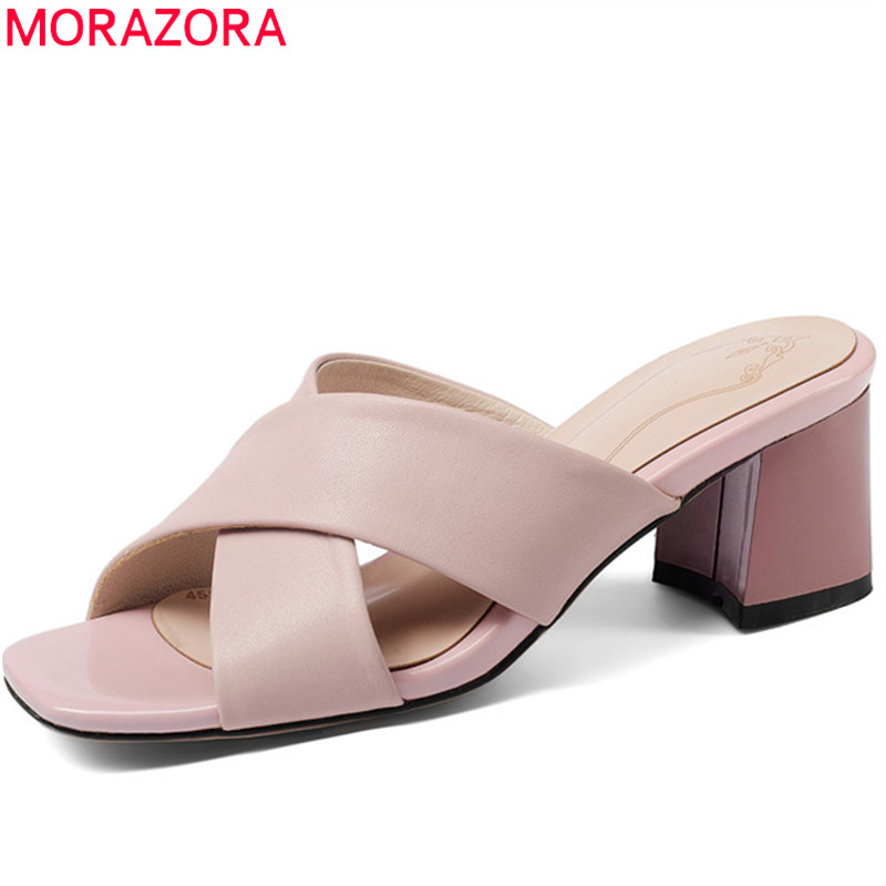 MORAZORA 2020 hot sale women sandals peep toe summer shoes pink white party shoes slip on ladies shoes square high heels shoes-in High Heels from Shoes    1