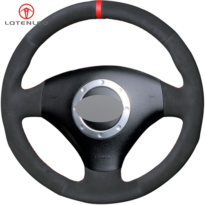 LQTENLEO Black Suede DIY Hand stitched Car Steering Wheel Cover For Audi TT 1999 2005 A3