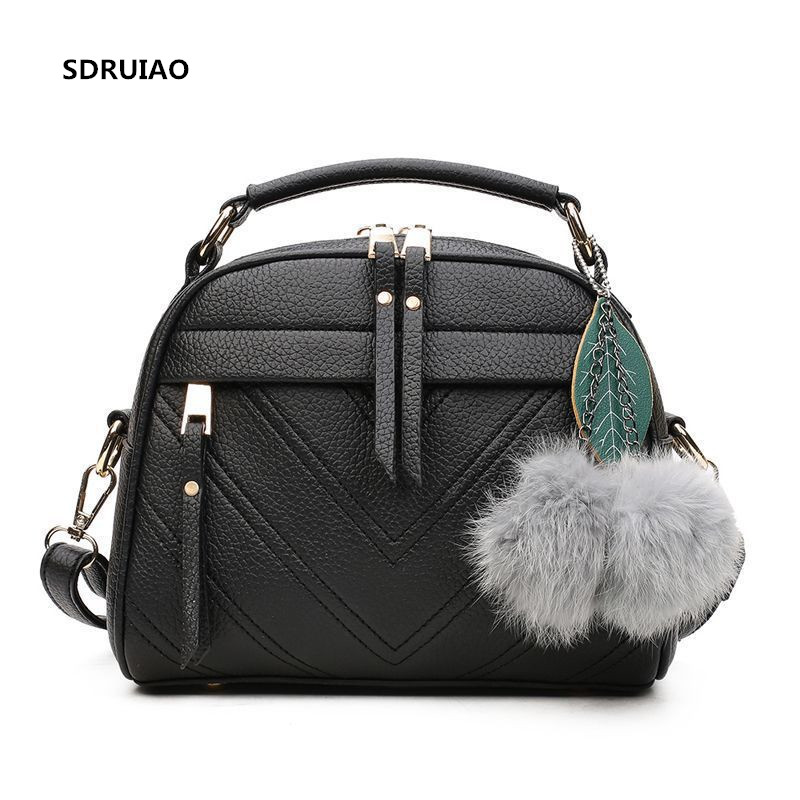 Women Leather Bag Brand Designer Hairball Ornaments Handbag Fashion Solid Style Shoulder Bags Luxury Casual Tote 2018 New 2017 new casual women shoulder bags famous brand fashion designer handbag solid genuine leather bag totes bolsos mujer