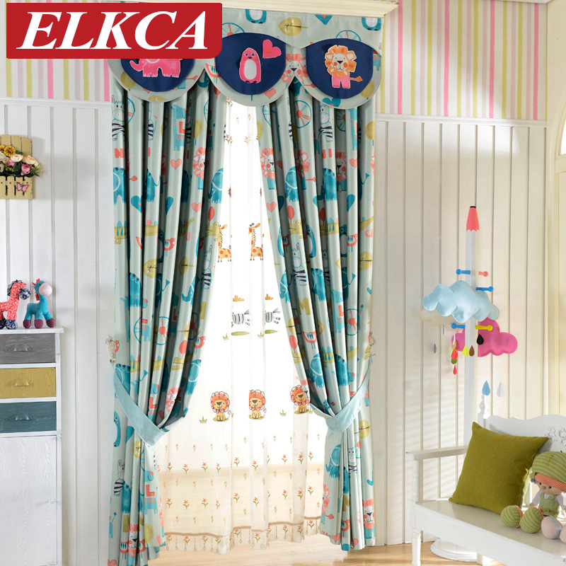 Double Sided Cartoon Printed Blackout Curtains For Kids Room Elephant Horse  Printed Window Curtains For Living Room Curtains