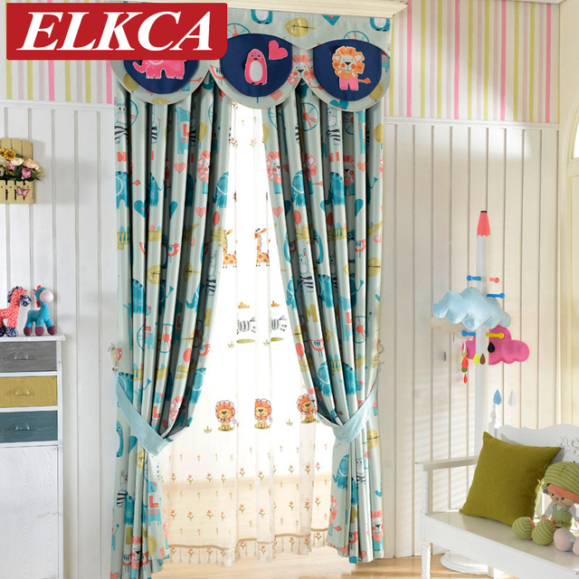 Kids Room Curtains Part - 29: Double-sided Cartoon Printed Blackout Curtains For Kids Room Elephant Horse  Printed Window Curtains For