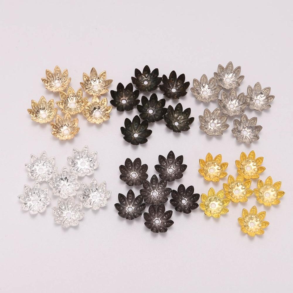5Pcs Golden Tone Enamel Flower Charms Alloy Bead End Caps 5mm 7mm 10mm Findings