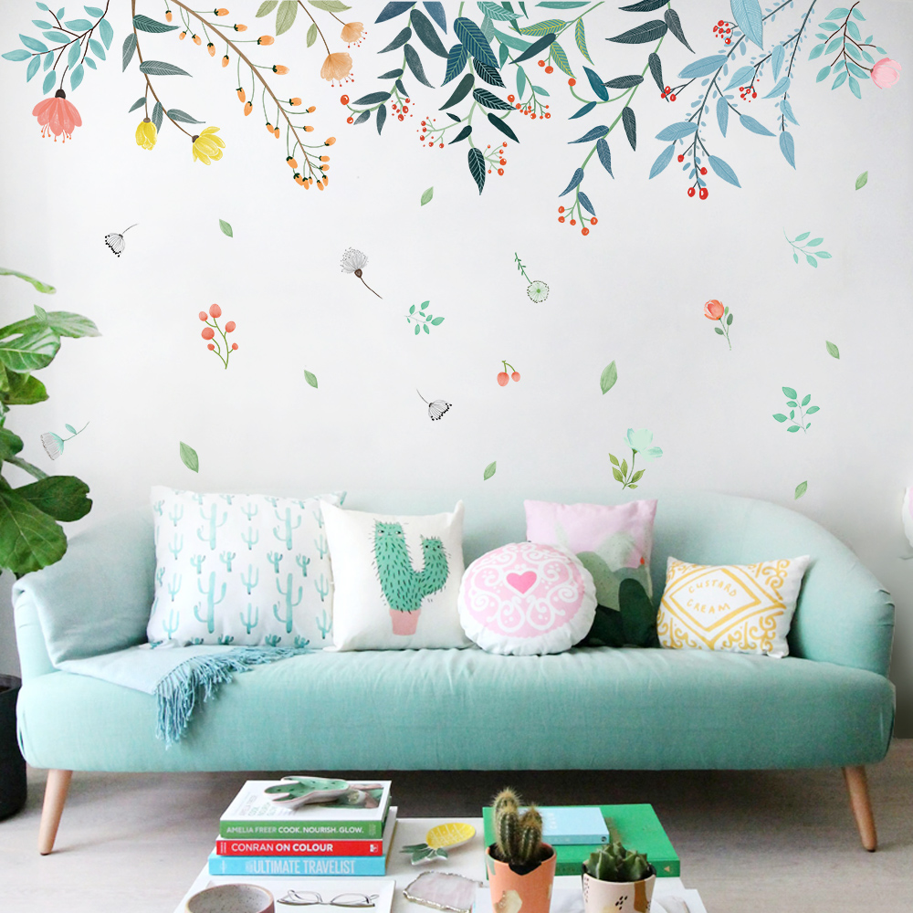 DICOR DIY Flowers Reflection Home Decoration Art Wall Stickers For Livingrooms Colorful Beautiful Removable Adesivo De Parede