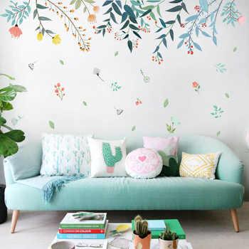 DICOR DIY flores reflejo hogar Decoración arte pared pegatinas para sala de estar colorido hermoso extraíble Adesivo de parede