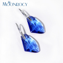 MOONROCY Free Shipping Fashion Jewelry Silver Color Long Blue Green Pink Crystal Dangle Earrings Hook Wholesale for Women Gift