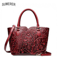 SUWERER new Genuine Leather women bags Fashion Embossed Flowers luxury handbags women bags designer women leather handbags