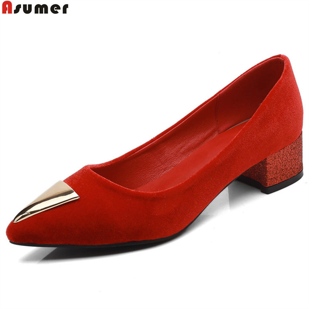 ASUMER black red fashion pointed toe shallow spring autumn ladies shoes square heel women low heels shoes plus size 33-46 asumer black white fashion spring autumn shoes woman square toe casual dress shoes square heel women med heels shoes size 46
