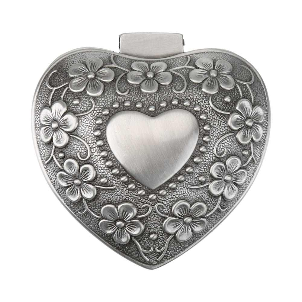 Zinc Alloy Antique Vintage Flower Heart Shape Jewelry Box Retro Trinket Wedding Ring Earring Storage Holder Case Propose Tool
