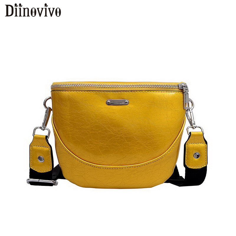 DIINOVIVO Women Shoulder Bags Laides Patend Leather Womens Bags Wide Strap Female Fashion Crossbody Bags Small Bag 2019 WHDV1096