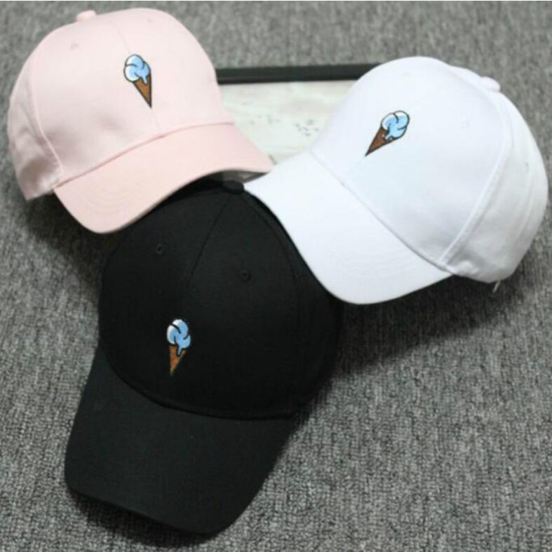 Men Women Causal Ice Cream Embroidery dad Cap Men Women Curved Strapback Baseball Cap Hat Adjustable 2019 New