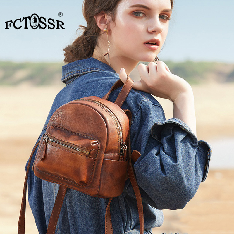 2019 New Fashion Original Design Handmade Leather Women Backpack Vintage Printing Female Shoulder Bag Preppy Daily Girl Bag - 2
