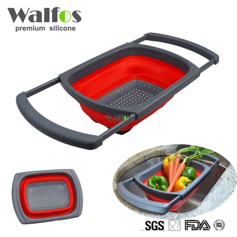 WALFOS Super practical Creative fashion Plastic wash rice Colander Strainer Sieve bright kitchen plastic drain vegatable basket
