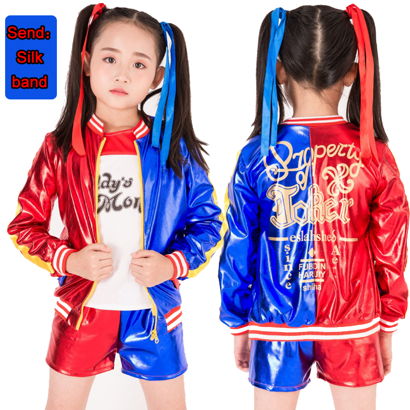 2019new Harley Quinn Cosplay Costumes 2018 Kids Girls Purim Femme Coat Jacket Chamarras De Batman Para Mujer Costume With Wig
