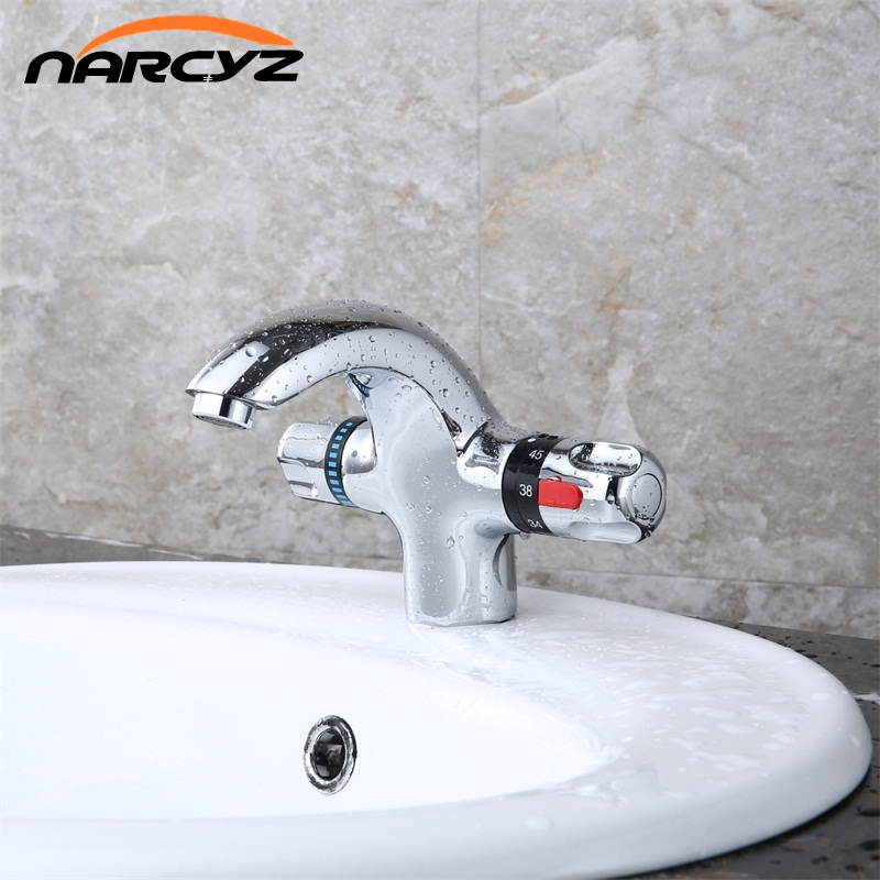 Narcyz New Style Basin Faucet Chrome mounted thermostatic Hot and Cold Brass Basin Faucet XT 1017