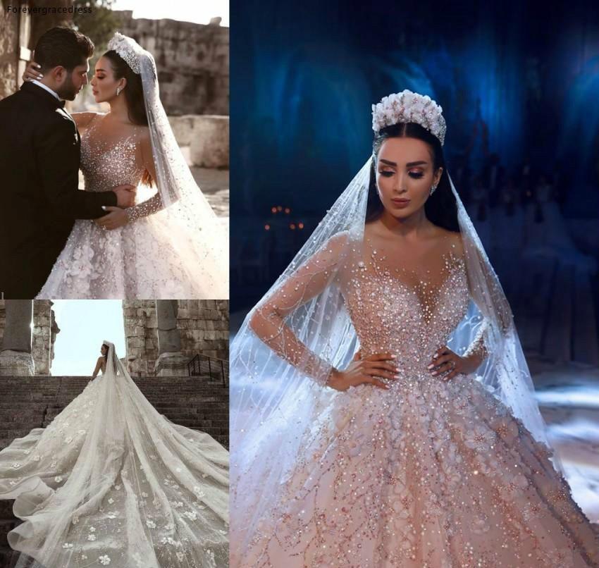 2019 Princess Luxury Wedding Dress African Arabic Dubai Long Sleeve Beading Church Formal Bride Bridal Gown Plus Size