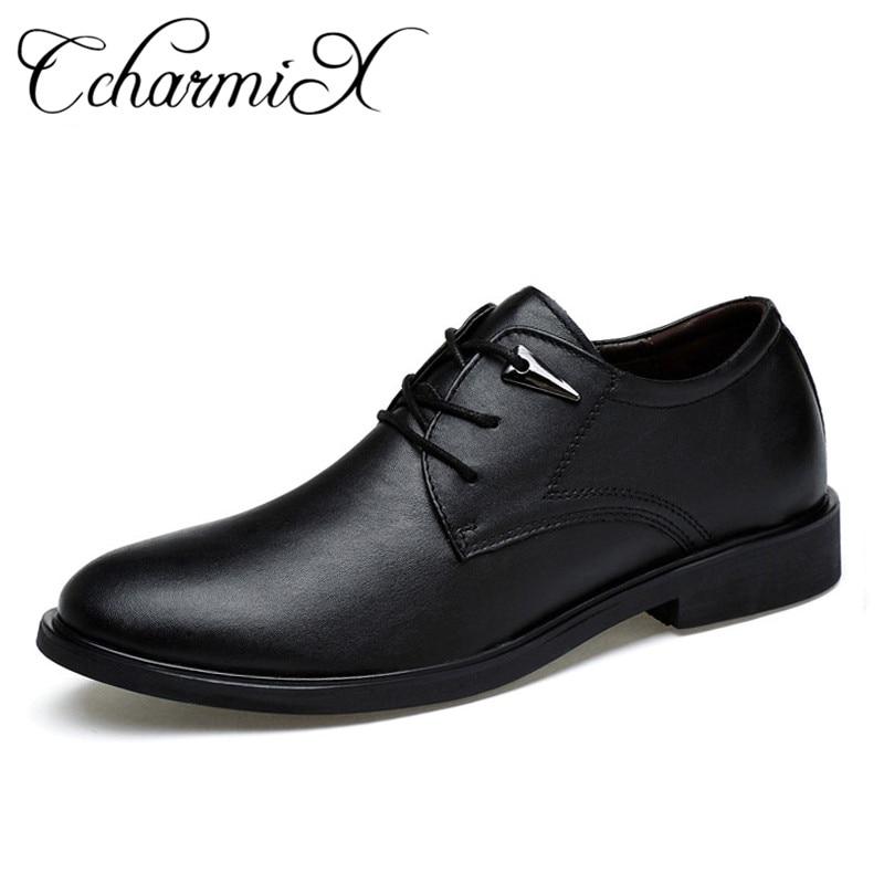 CcharmiX حجم 38 46 عالية الجودة جلد طبيعي اللباس أحذية وأشار انجلترا الأعمال الزفاف الرسمي الشقق حذاء أسود للرجال-في أحذية رسمية من أحذية على  مجموعة 1