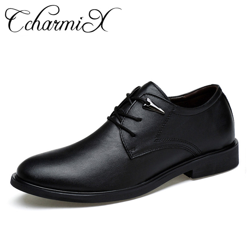 CcharmiX Size 38-46 High Quality Genuine Leather Dress Shoes Pointed England Business Wedding Formal Flats Black Shoes For Men ccharmix business men shoes genuine leather mens pointed toe dress shoes for men wedding shoes plus size 38 47 formal footwear