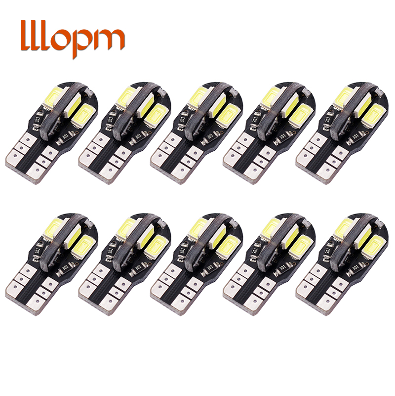 10PCS High Quality T10 8SMD 5630 LED Car Light Canbus NO OBC ERROR Auto Wedge Lamp 2825 W5W 8 SMD 5730 Led Parking Bulb 12V 10X 10pcs led car interior bulb canbus error free t10 white 5730 8smd led 12v car side wedge light white lamp auto bulb car styling