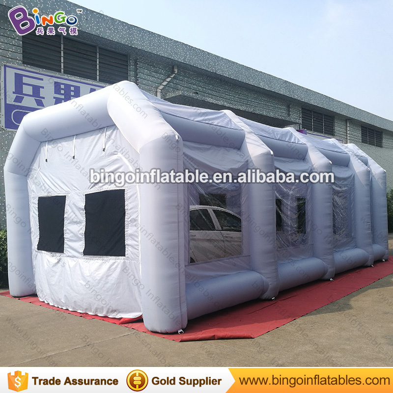 все цены на Free Shipping Light Grey Color Inflatable Paint Booth Hot sale 26X13X10 feet blow up spray painting booth toy tents онлайн