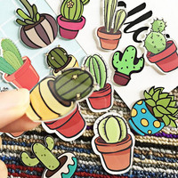 1 PCS Cute Icon Free Shipping Cactus Succulent plants Acrylic Pin Badge Cartoon Icons Backpack Decoration Badges