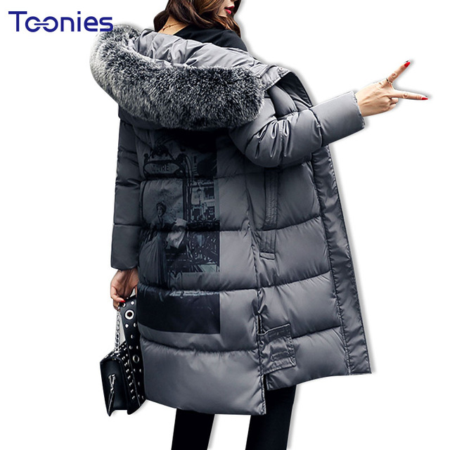 Women Winter Wadded Parkas Padded Jackets Overcoat With Faux Fur Hooded Thicken Slim Back Print Feamle Coat Warm Zipper Clothes women winter coat jacket warm parkas fur hooded wadded overcoat plus size outerwear letter bomber jackets tops zipper pockets