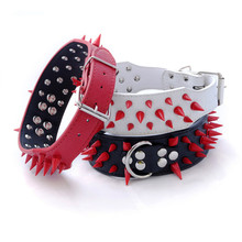 Domineering Pu Leather Spike Studded Dog Collar Red Rivet Anti Bite for Big Pitbull Pets Accessories Pet Supplies