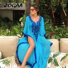 Женское шифоновое платье с вышивкой длинное Повседневное большого