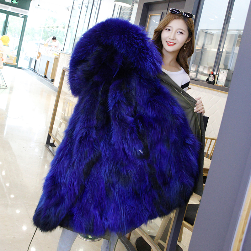 Kind-Hearted Womens Real Fur Jackets Winter Parkas Long Coat Hoodies Fox Fur Lining Warm Thick Outwear Windbreaker New Fashion 2018 Blue Pink