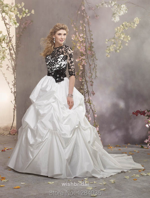 White with black accent wedding dress