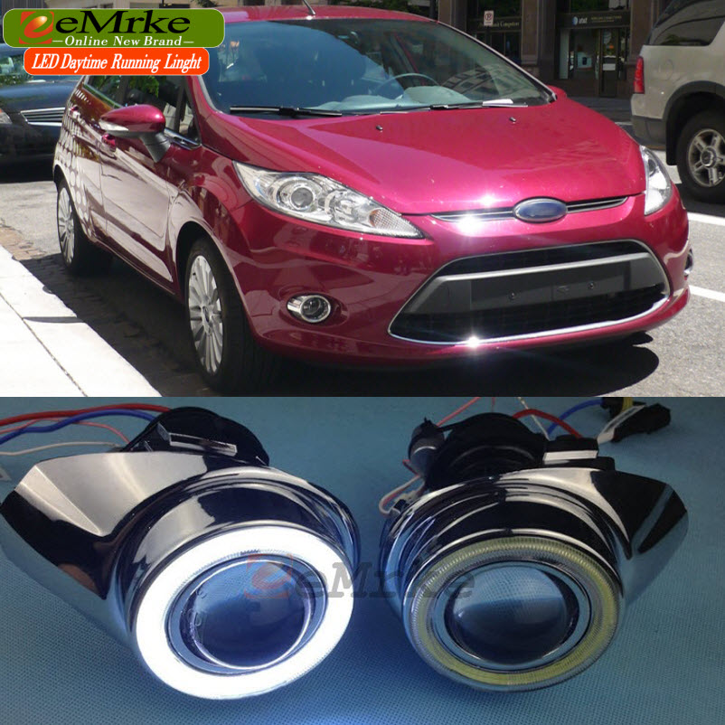 Car Styling DRL FOR Ford Fiesta Verve Concept LED Angel Eyes Fog Light H11 55W Halogen Bulbs Daytime Running Lights eemrke led angel eyes drl for suzuki aerio liana 2005 2006 2007 fog lights daytime running lights h3 55w halogen cut line lens