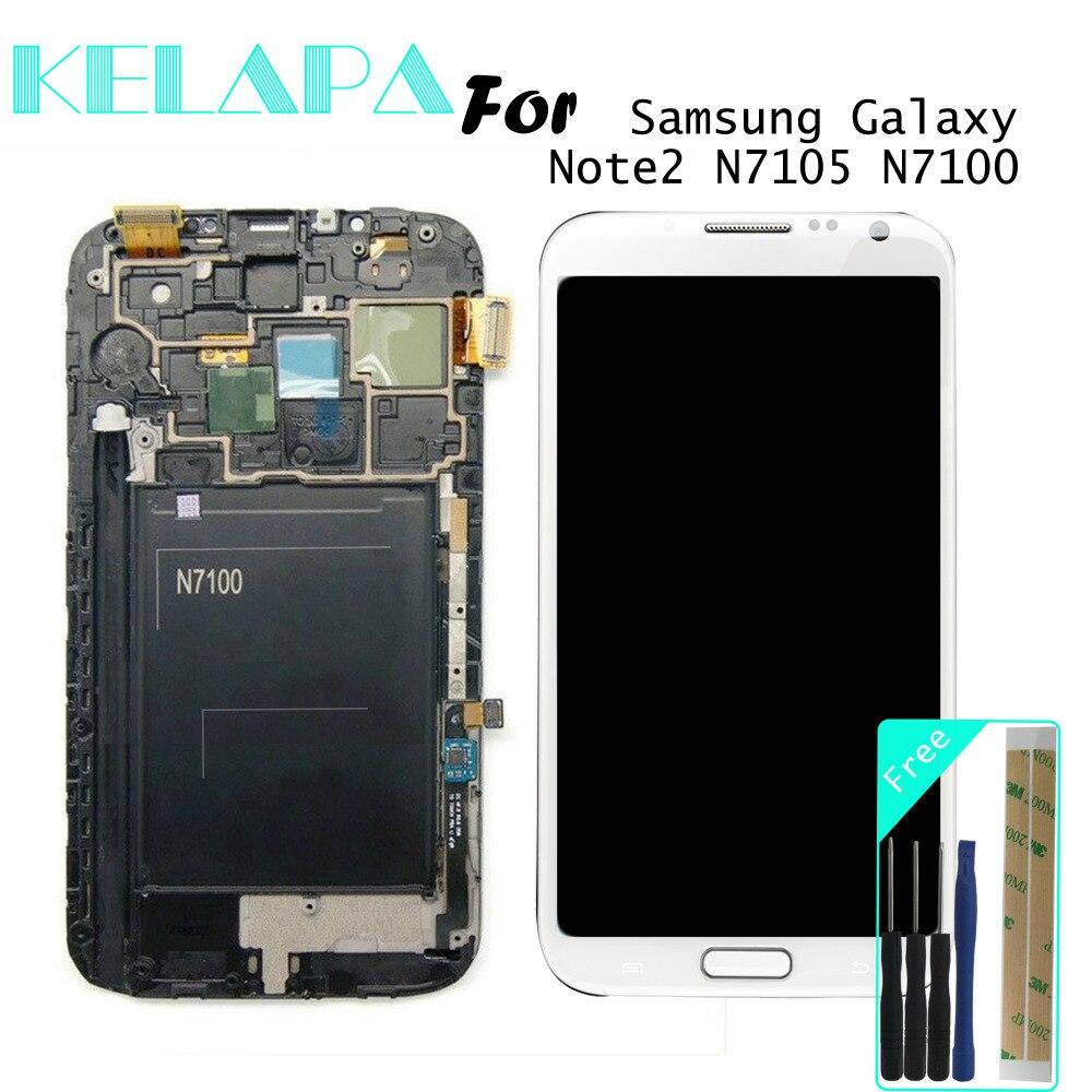 Super AMOLED LCD pour Samsung Galaxy Note2 N7105 N7100 LCD écran tactile numériseur cadre assemblage verre trempé