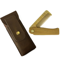 T 17 Customized Handmade Green Sandalwood Wooden Folding Comb With Leather Bag