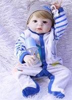 57CM blue eyes Boneca Bebe Reborn boy Dolls blond hair Silicone Reborn Baby Doll In Cute plush Clothes for girls play house toy