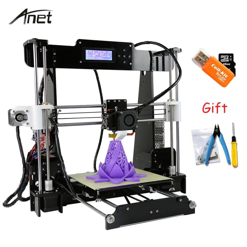 Anet A8 i3 Impresora Impressora De Alta Precisão 3D Imprimante 3D Ferramentas DIY Kit Com Cartão SD Construir Viveiro De Extrusora de Alumínio filamento
