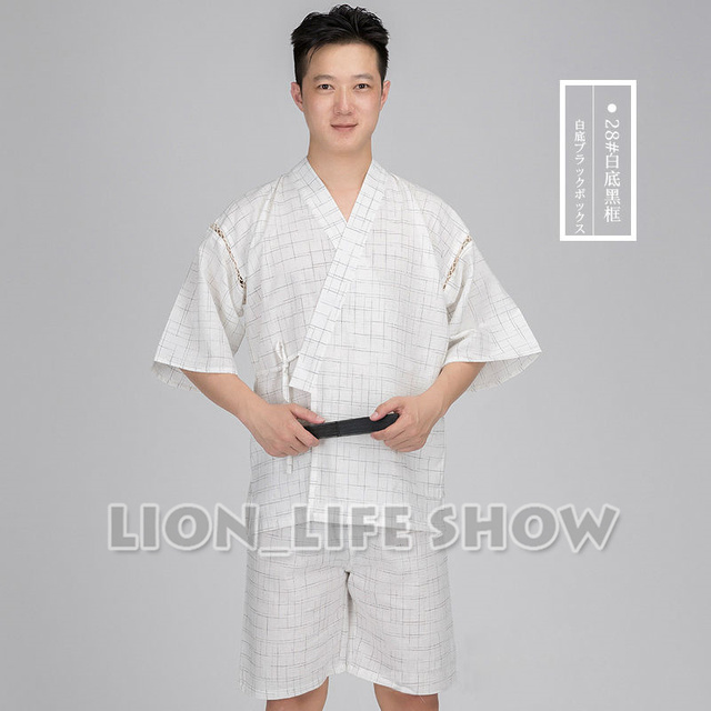 Japanese Summer Men Jinbei Kimono Short Sleeve Pants Sleepwear Pajama Loungewear
