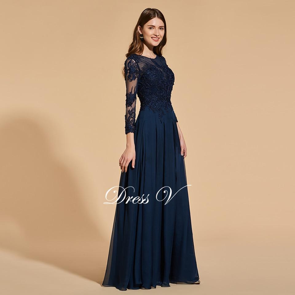 Aliexpress.com : Buy Dressv dark navy beading long prom dress long ...