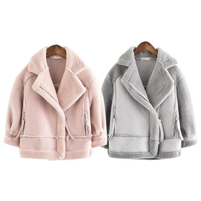 Manteaux et vestes en daim, molleton pour filles, manteaux pour enfants 4 10, taille ancienne, automne et hiver, 9GT018