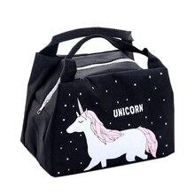 Bolsa de almuerzo de unicornio Animal de dibujos animados para niñas portátil impermeable aislado grande de lona fría bolsa de Picnic caja térmica para niños y mujeres