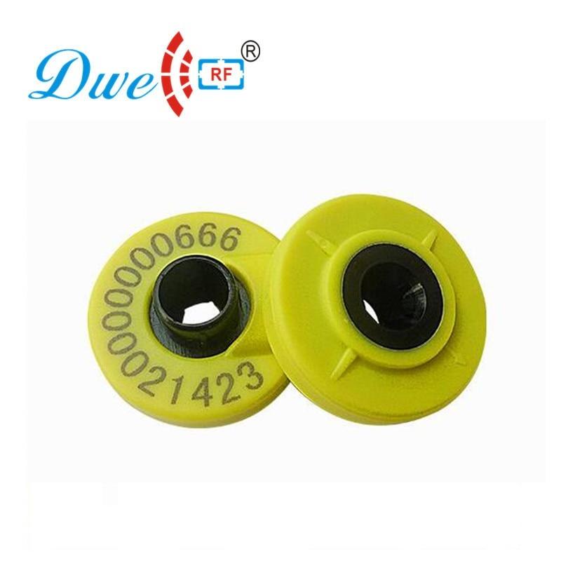 DWE CC RF Free shipping  10 sets/ lot pig ear tag FDX-B 134.2khz long range EM4305 tag ISO 11784 11785 dwe cc rf 100pcs lot free shipping rfid 13 56mhz mf silicone wristband bracelet tag