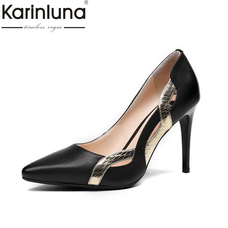 Karinluna Women's Patent Genuine Leather Shoes Woman Thin High Heels Pointed Toe Less Platform Stiletto Pumps Size 34-39