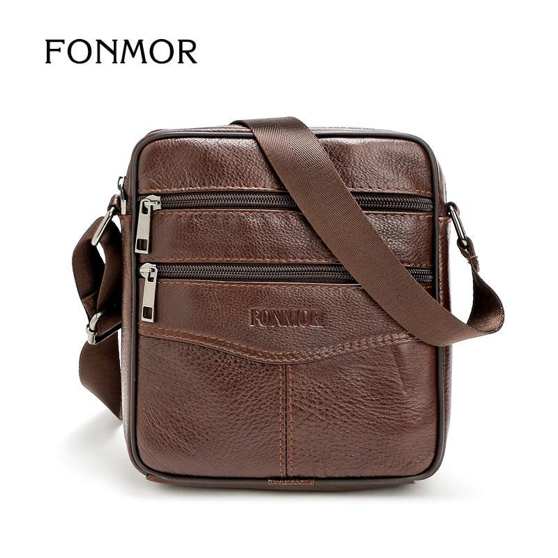 Fonmor Business Genuine CowLeather Men's Messenger Bag Vintage Crossbody Bag Bolsas Male Large Capacity Shoulder Handbag For Men