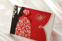 100 PCS Free Shipping CW1051 Customized Printing Chinese Bride And Groom Wedding Invitation Card