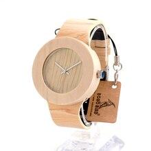 2017 bobo bird reloj de las mujeres señoras de los relojes de madera genuina banda de cuero relojes de pulsera relogio feminino b-h12
