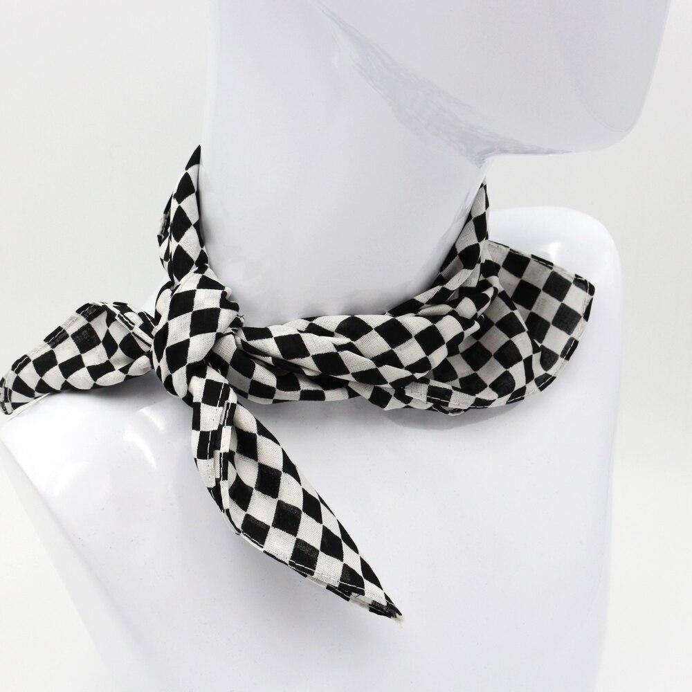 55X55 CM Black Plaid Cotton Bandanas Men Pocket Square Ladies Headband Headscarf Neckerchief Headwear Handkerchief(China)