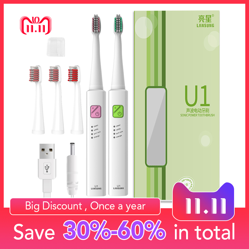 Lansung U1 Ultrasonic Electric Toothbrush + 4 Replacement Heads USB Rechargeable Sonic Toothbrush Timer Tooth Brush Oral Hygiene lansung u1 ultrasonic electric toothbrush usb charge rechargeable waterproof sonic toothbrush with 4 replacement brush heads